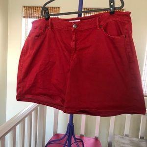 Lane Bryant size 24 red denim shorts